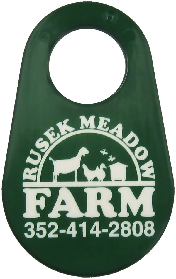 Goat neck tag with custom-imprinted logo
