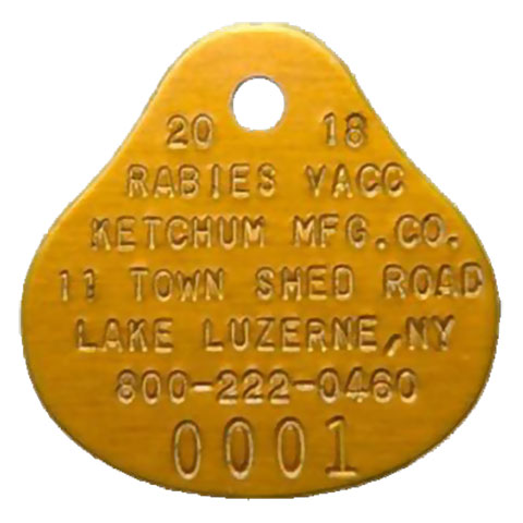 Orange Oval Rabies Tag (2018)