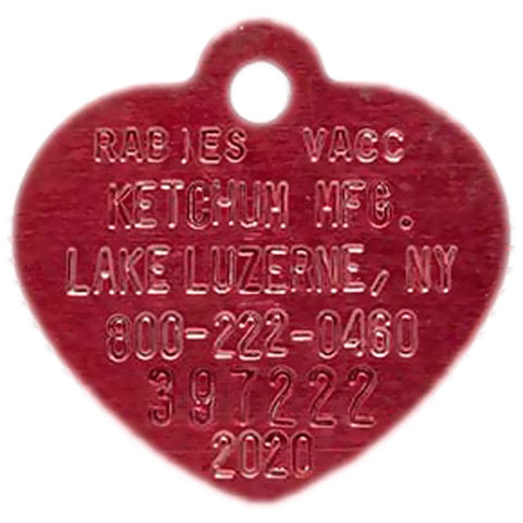 Ketchum Red Heart Rabies Tag (2020)