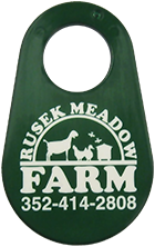 Goat ID neck tag with custom imprinted farm logo
