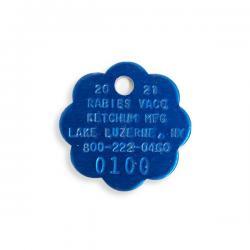 blue aluminum rabies tag - 2021